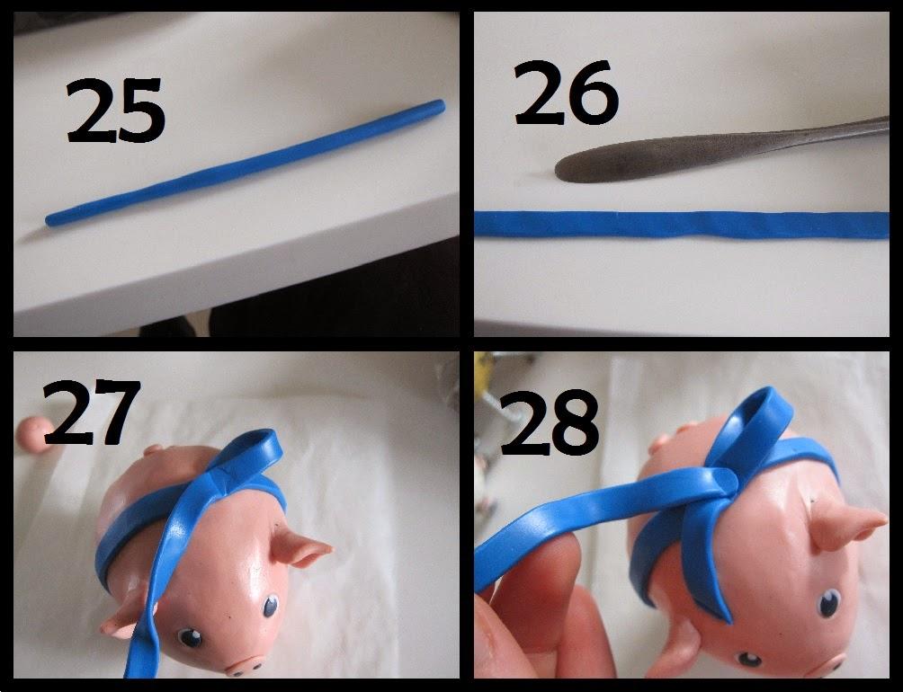 Første trin til hvordan man laver en sløjfe af cernit/fimo-ler til en hjemmelavet gris