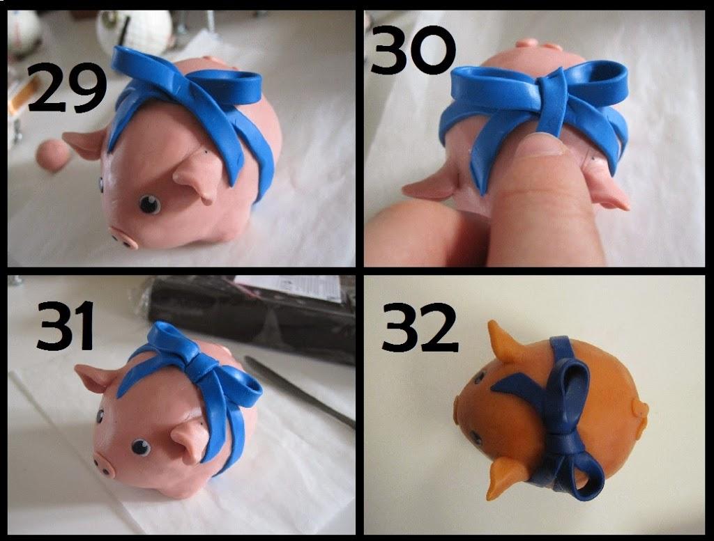 Andet trin til hvordan man laver en sløjfe af cernit/fimo-ler til en hjemmelavet gris