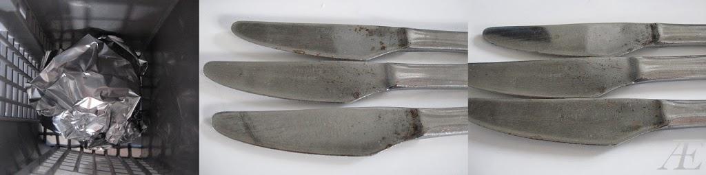 fjern flyverust fra bestik med sølvpapir i opvaskemaskine, life hacks, husholdningstip
