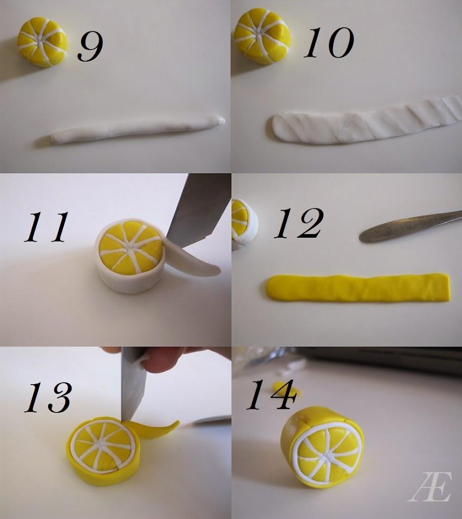 Tredje trin til citron canes af cernit eller fimo