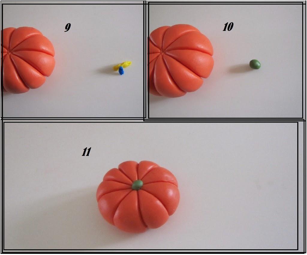 Tredje skridt til hjemmelavede græskar af cernit/fimo - Stilken