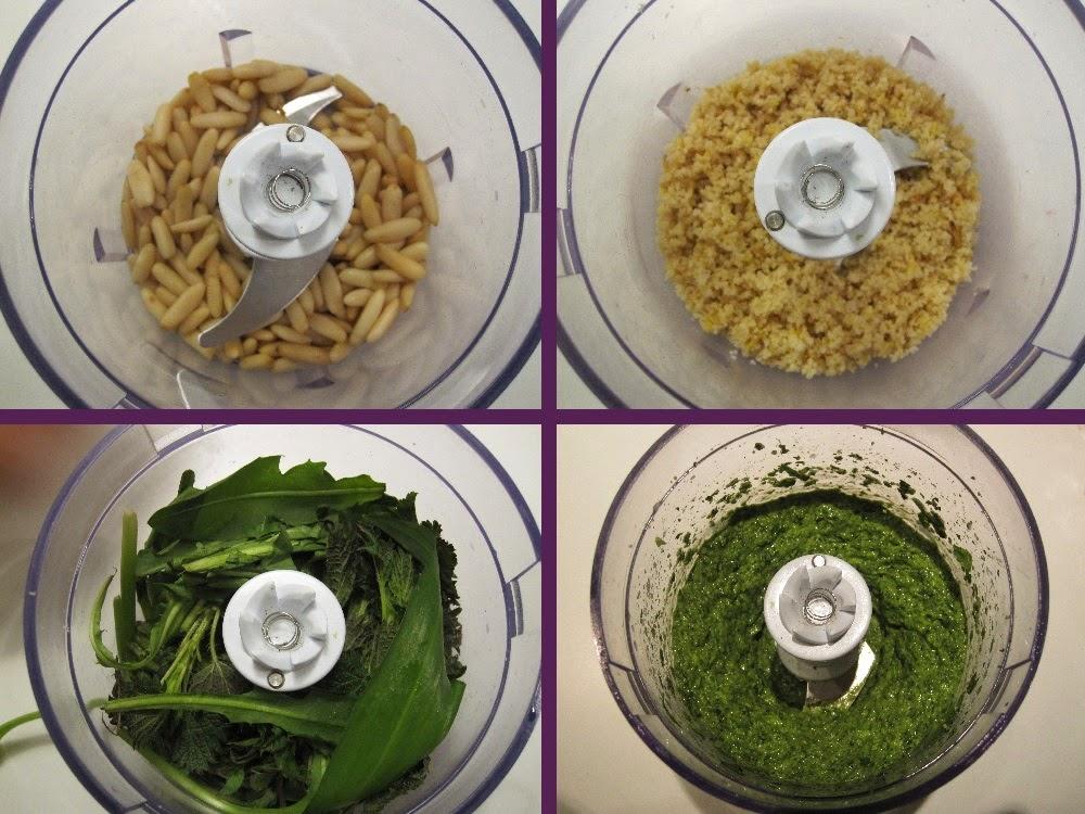 Ingredienser til en nem pesto, blendet i rækkefølge