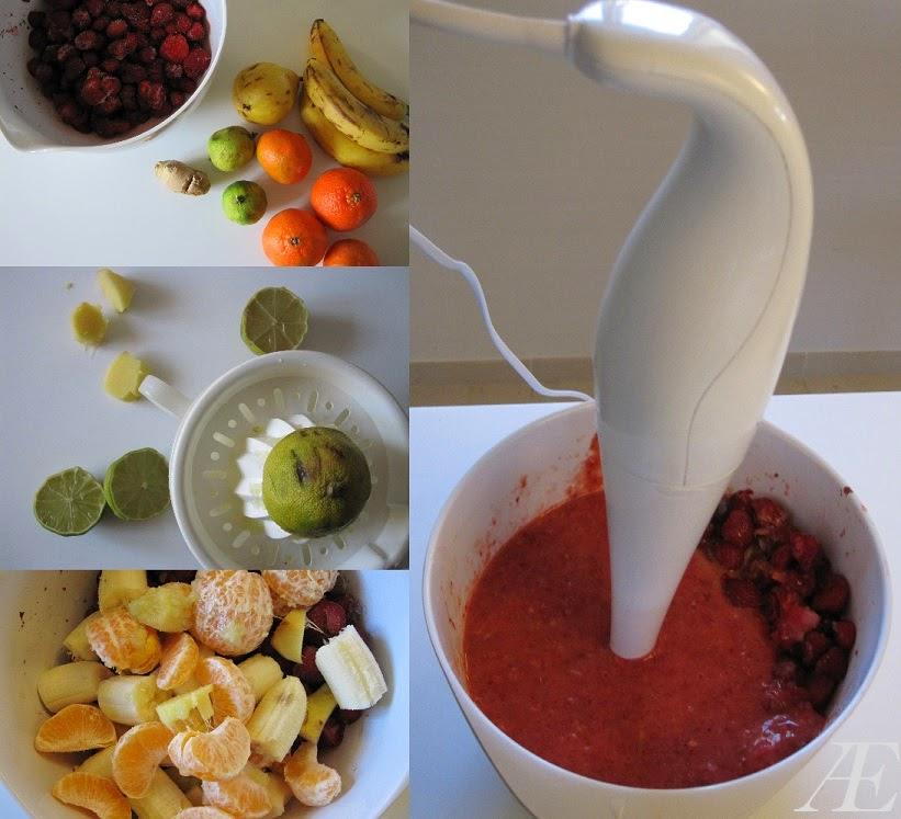 Frosne jordbær samt banan, madarin, lime, ingefær og pære blendes til smoothie!