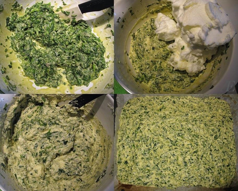 Dette billede viser, i trin, hvordan omelet-bunden til denne lakseroulade, laves.