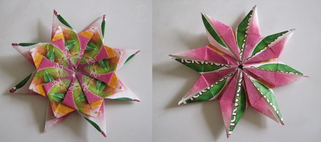 Flotte origami stjerner af tebreve - forside og bagside