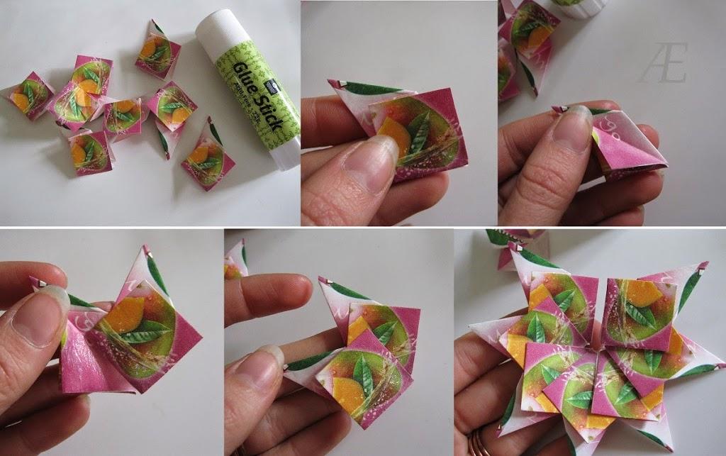 DIY origami stjerner af tebreve - Limning