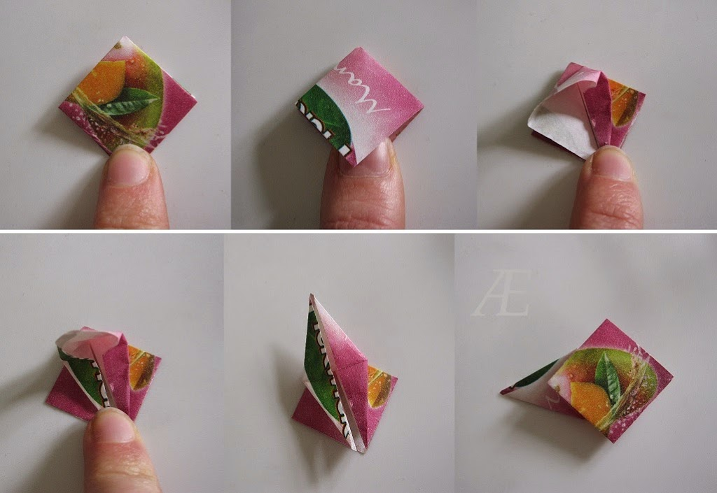 DIY origami stjerner af tebreve - 2. trin