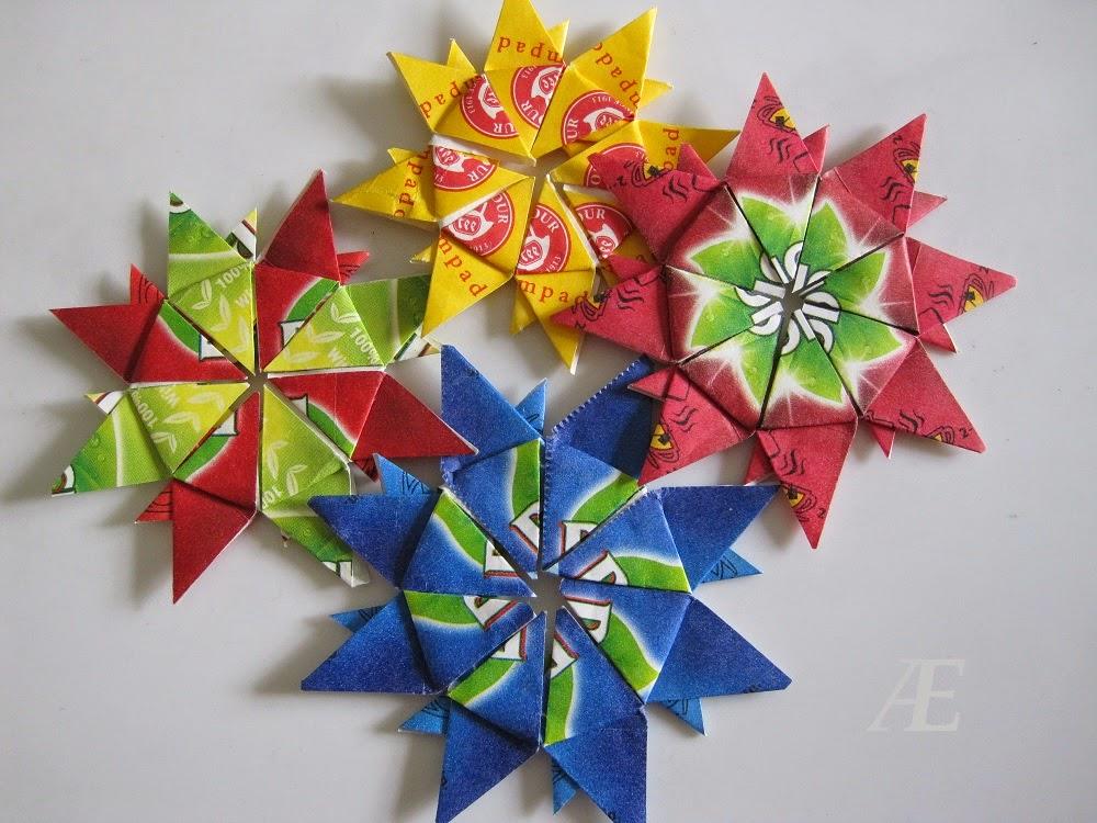 DIY - origami stjerner af tebreve