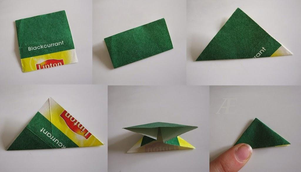 DIY - origami stjerner foldet af tebreve - Første trin