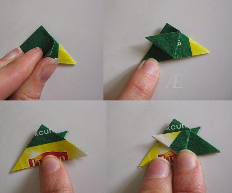 DIY - origami stjerner af tebreve - andet trin