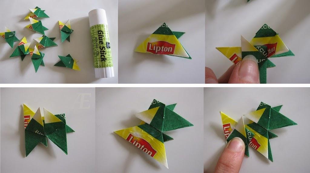 DIY - origami stjerner af tebreve - Limning