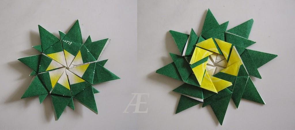 DIY - origami stjerner af tebreve - forside og bagside