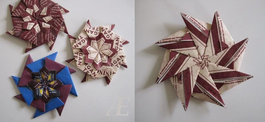 Hjemmelavet origami stjerne, foldet af tebreve. Andre eksempler og en bagside.