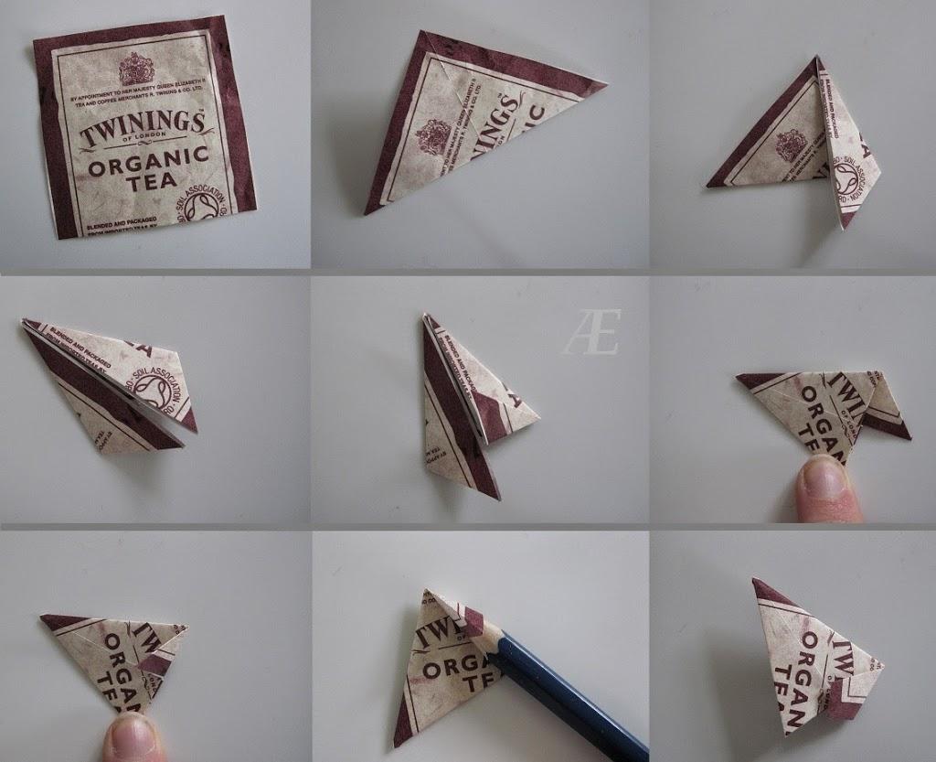 Guide til en origami stjerne af tebreve, i trin