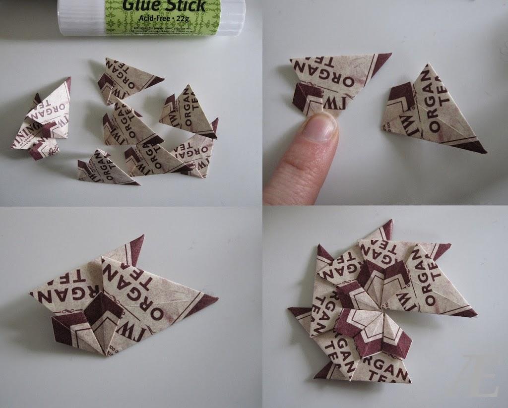 Limning af en hjemmelavet origami stjerne af tebreve