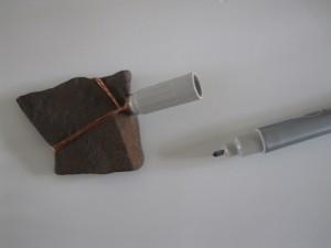 montering af sten i spidsen af min kobber tryllestav