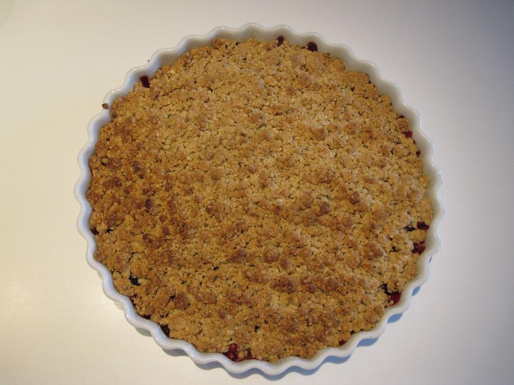 Opskrift på brombær crumble - kage