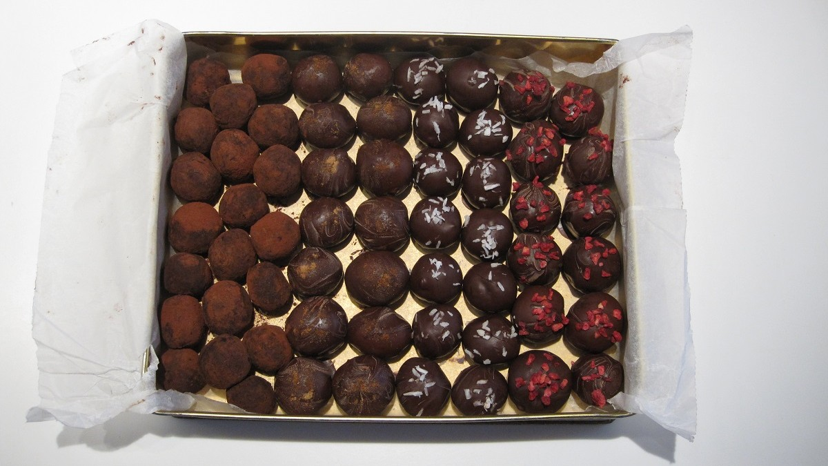 Gaveæske med sunde konfekt kugler