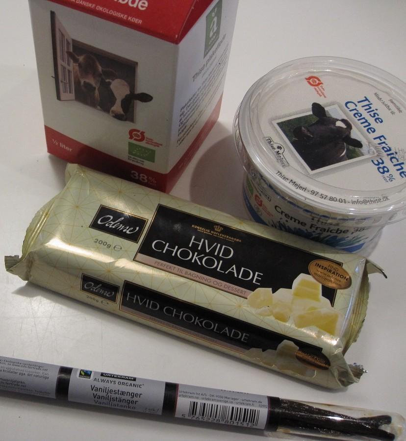 ingredienser til hvid chokolademousse