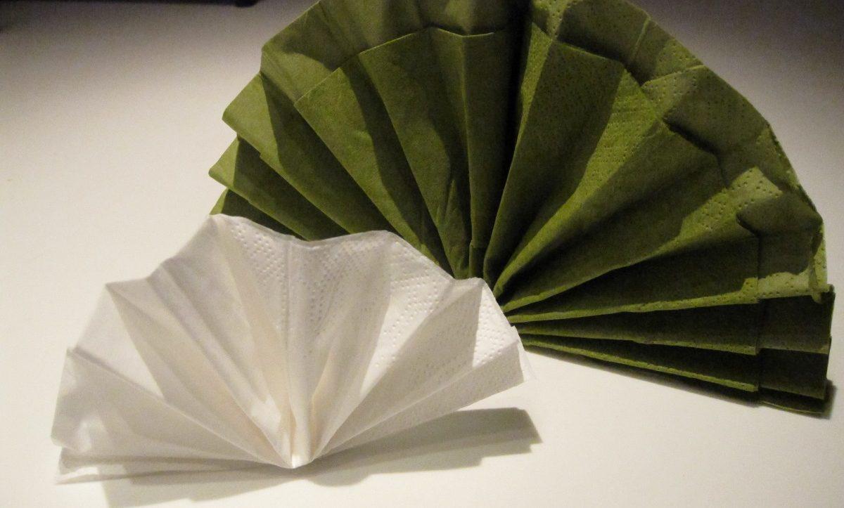Foldede vifte servietter