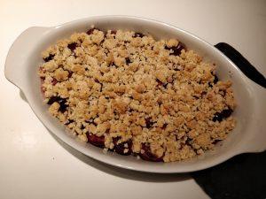 Opskrift på Morel/kirsebær crumble