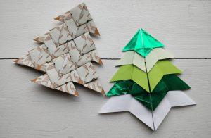 Origami juletræer